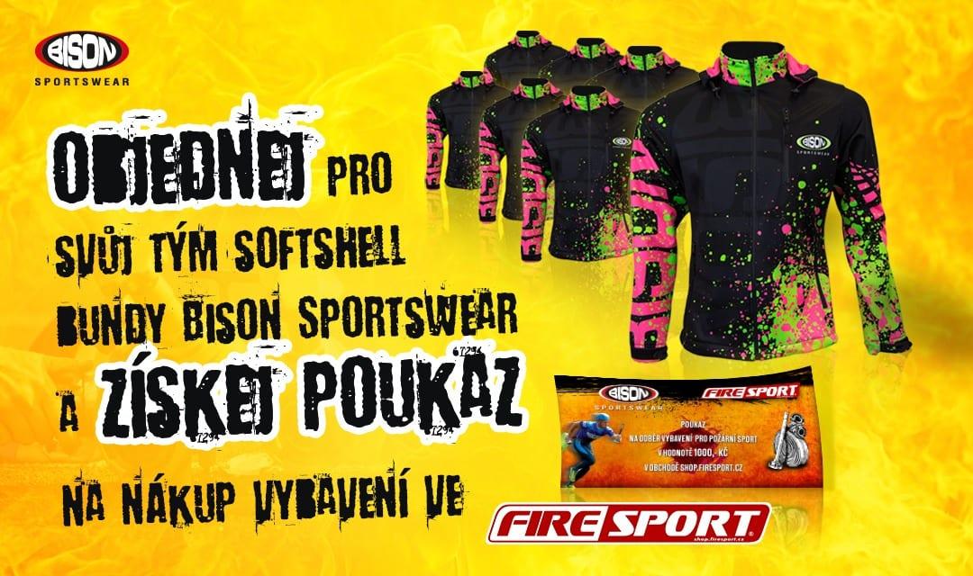 Akce Bison Sportswear pro hasičské týmy - k objednaným softshell bundám získej poukaz na nákup za 1000,-kč.