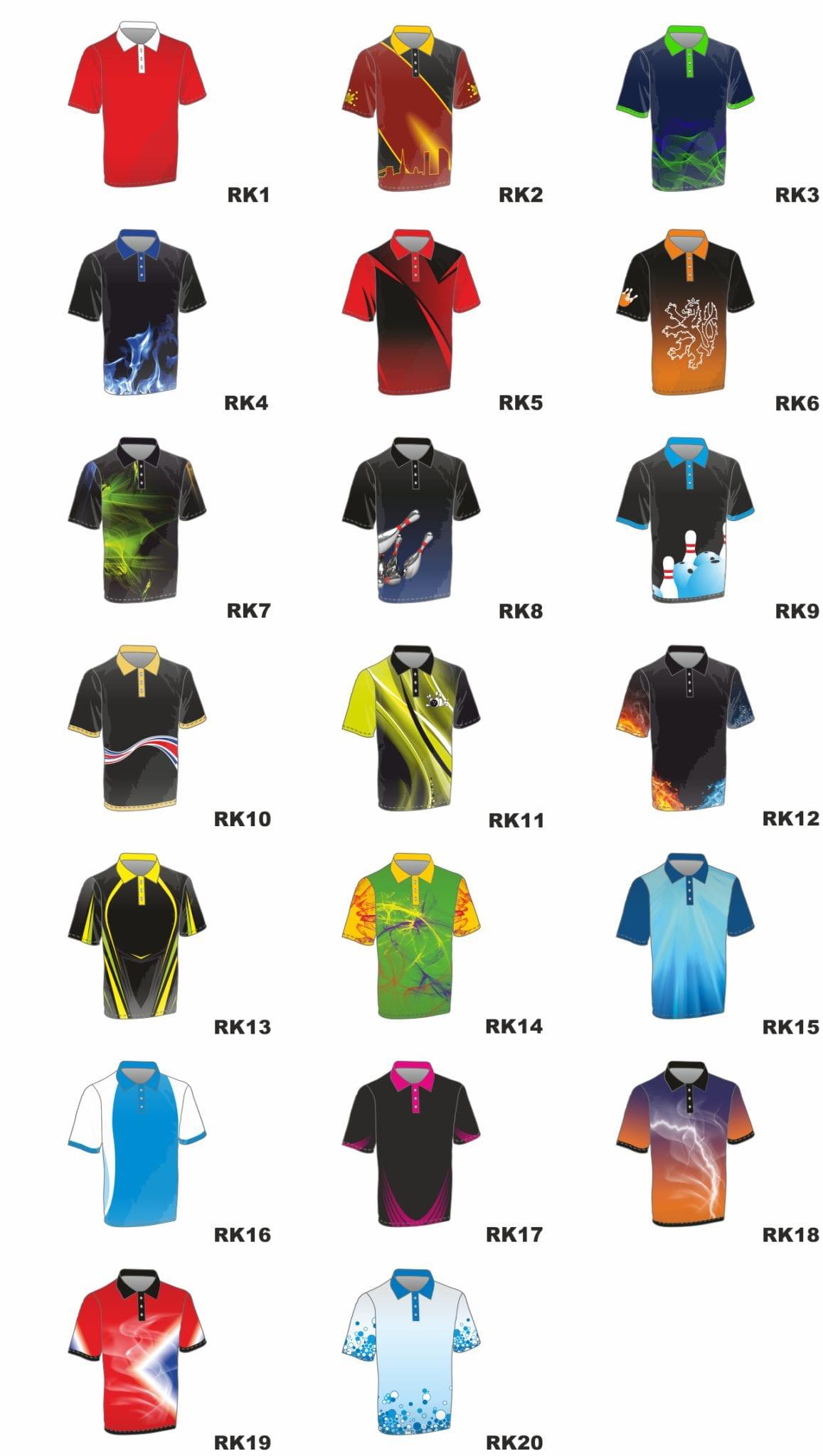 návrhy designu dresů na bowling a kuželky