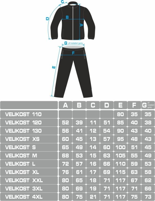 Velikostní tabulka teplákové soupravy Bison Sportswear
