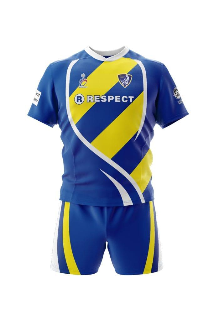 Reálná grafika dresu ragby z výroby Bison Sportswear.
